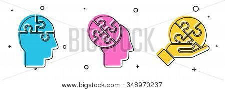 Set Human Head Puzzles Strategy, Human Head Puzzles Strategy And Piece Of Puzzle In Hand Icon. Vecto