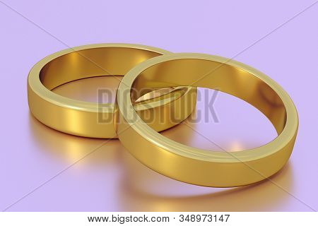 Wedding Rings. Gold Rings. Two Rings. 3d Rendering. Wedding Symbols. Wedding Traditions. Gold Items.