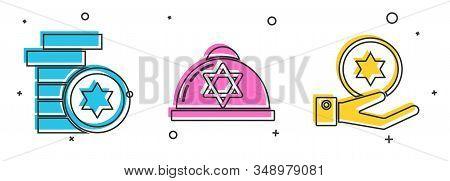 Set Jewish Coin, Jewish Kippah With Star Of David And Jewish Coin On Hand Icon. Vector
