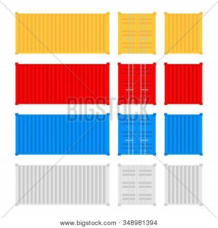 Set Shipping Cargo Container Twenty And Forty Feet. For Logistics And Transportation. Vector Stock I