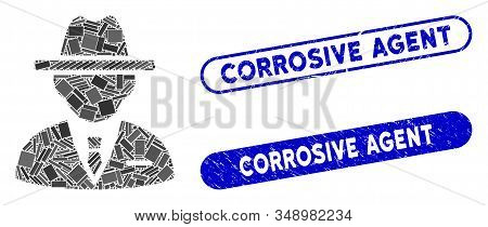 Collage Agent And Grunge Stamp Seals With Corrosive Agent Caption. Mosaic Vector Agent Is Composed W