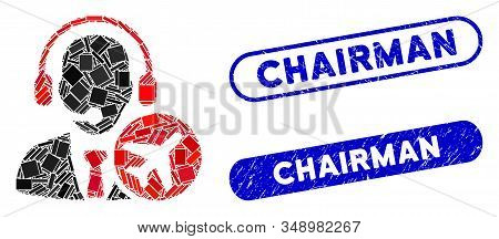 Mosaic Air Dispatcher And Corroded Stamp Watermarks With Chairman Text. Mosaic Vector Air Dispatcher