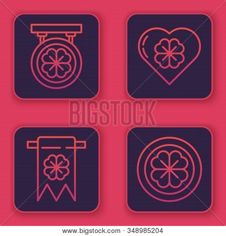 Set Line Street Signboard With Four Leaf Clover, Four Leaf Clover And Party Pennant, Heart With Four
