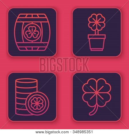 Set Line Wooden Barrel With Four Leaf Clover, Gold Coin With Four Leaf Clover, Four Leaf Clover In P