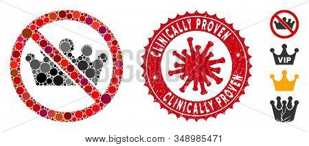 Mosaic No Monarchy Icon And Red Round Grunge Stamp Seal With Clinically Proven Text And Coronavirus