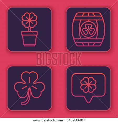 Set Line Four Leaf Clover In Pot, Four Leaf Clover, Wooden Barrel With Four Leaf Clover And Four Lea