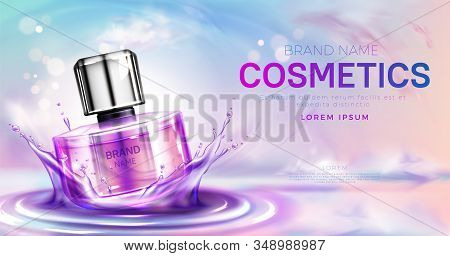 Cosmetics Perfume Bottle On Splashing Water Surface With Circles On Pink Cloudy Sky Background. Glas