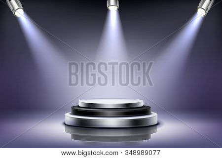 Round Podium With Spotlight Illumination, Empty Stage For Award Ceremony, Product Presentation Platf