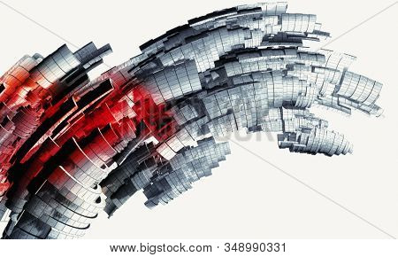3D rendering of red-black abstract technology digital hi tech background
