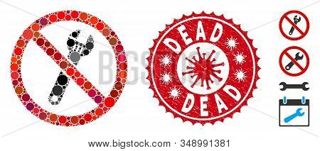 Mosaic No Spanner Icon And Red Round Corroded Stamp Watermark With Dead Caption And Coronavirus Symb
