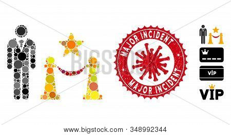 Mosaic Prestige Entarnce Icon And Red Round Grunge Stamp Watermark With Major Incident Phrase And Co