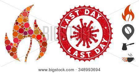 Mosaic Roasted Coffee Icon And Red Rounded Corroded Stamp Seal With Last Day Text And Coronavirus Sy