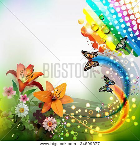 Background with lilies