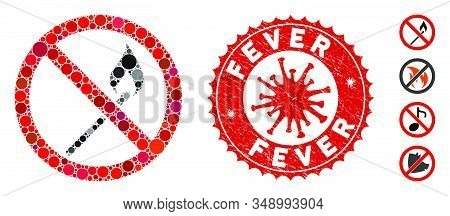Mosaic No Ignite Match Icon And Red Rounded Corroded Stamp Seal With Fever Phrase And Coronavirus Sy