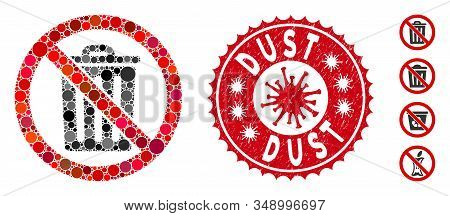 Mosaic No Dustbin Icon And Red Rounded Grunge Stamp Seal With Dust Caption And Coronavirus Symbol. M