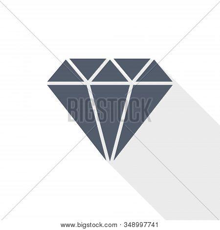 Diamond Jewel Vector Icon, Brilliant, Treasure Concept Flat Design Illustration