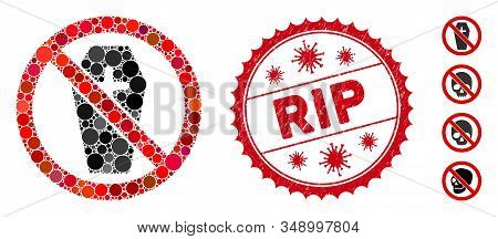Mosaic No Coffin Icon And Red Round Rubber Stamp Seal With Rip Text And Coronavirus Symbol. Mosaic V