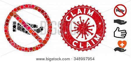 Mosaic No Petition Hand Icon And Red Round Distressed Stamp Seal With Claim Phrase And Coronavirus S