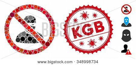Mosaic No Ninja Icon And Red Round Rubber Stamp Seal With Kgb Caption And Coronavirus Symbol. Mosaic