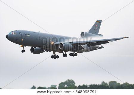 Fairford / United Kingdom - July 12, 2018: United States Air Force Usaf Kc-10a Extender 87-0120 Tran