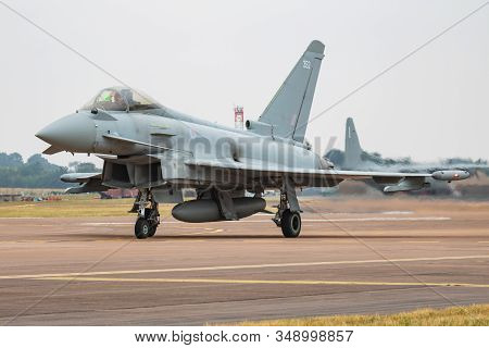 Fairford / United Kingdom - July 12, 2018: Royal Air Force Eurofighter Typhoon Zk352 Fighter Jet Arr