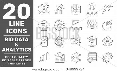 Set Of Data And Web Analytics Related Vector Line Icons Set.graphs, Traffic Analysis, Big Data And M