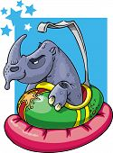 Don't mess with the wrong guy. Rhino in bumper car. poster