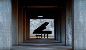 Grand Piano In Cement And Concrete Interior Architecture. Art And Musical Instruments.musical Backgr