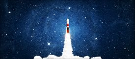 Rocket Launching In Space Sky With Stars. Elements Of This Image Furnished By Nasa