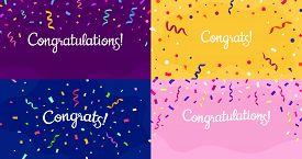 Congratulations Confetti Banner. Congrats Card With Color Confetti, Congratulation Lettering Banners