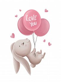 Little Bunny With Balloons And Hearts