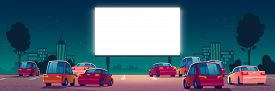 Outdoor Cinema, Drive-in Movie Theater With Cars On Open Air Parking. Vector Cartoon Summer Night Ci