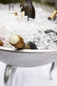 Bottles Of Champagne Cooling On Ice