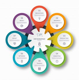 Infographic Circle Diagram Template With 8 Options. Can Be Used As A Chart, Graph, Workflow Layout,
