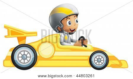 Illustration of a boy riding in a yellow racing car on a white background