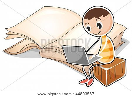 Illustration of a young boy with a laptop near the big book on a white background