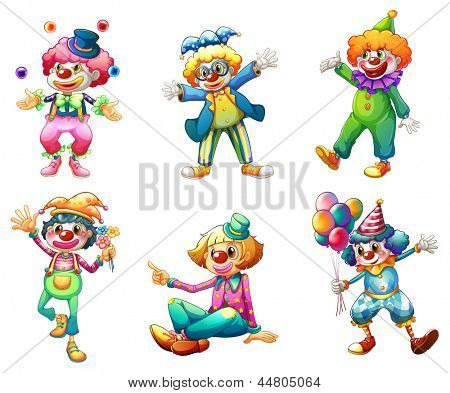 Illustration of the six different clown costumes on a white background