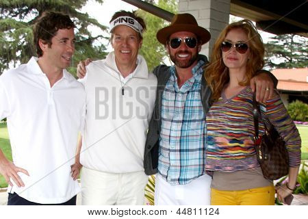 LOS ANGELES - APR 15:  Zach Jones, Jack Wagner, Guest, Ashley Jones at the JJack Wagner Celebrity Golf Tournament  at the Lakeside Golf Club on April 15, 2013 in Toluca Lake, CA
