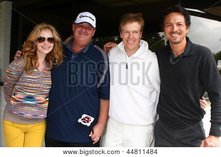 LOS ANGELES - APR 15:  Ashley jones, Brian Baumgartner, Jack Wagner, Benjamin Bratt at the Jack Wagner Celebrity Golf Tournament  at the Lakeside Golf Club on April 15, 2013 in Toluca Lake, CA