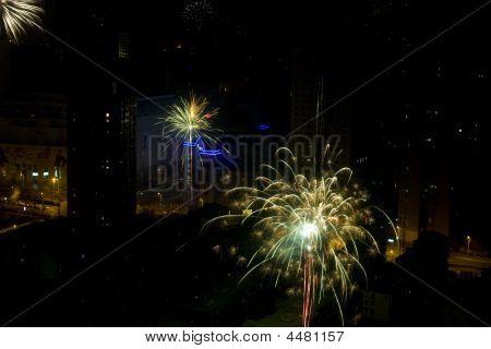 Shanghai Fireworks -city