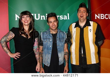LOS ANGELES - APR 22:  Hannah Aitchison, Pete Wentz, Joe Capobianco at the NBCUniversal Summer Pres Day 2013 at the Huntington Langham Hotel on April 22, 2013 in Pasadena, CA