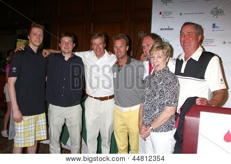LOS ANGELES - APR 15:  Jack Wagner, with sons Harrison and Peter, His brother Dennis  and family at the Wagner Celebrity Golf Tournament  at the Lakeside Golf Club on April 15, 2013 in Toluca Lake, CA