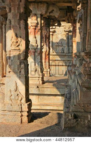 Some Beautiful Pillar Of The Krishna Temple In Hampi