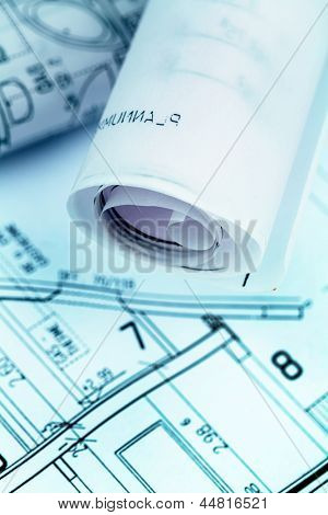an architect's blueprint for the construction eiones new house. symbolic photo for funding and planning of a new home.