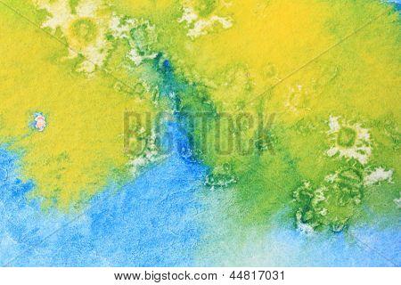 Blue Green and Yellow Watercolor Macro 6