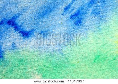 Blue Green and Yellow Watercolor Macro 3