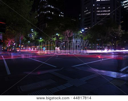 Melbourne street  at night