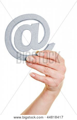 Hands with an at sign as symbol for communication