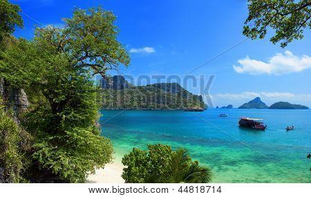 Exotic beautiful landscape of Thailand sea. Angthong marine park near koh Samui island. Tropical beach and archipelago view