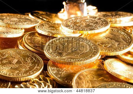 George V gold coins - Selective focus poster